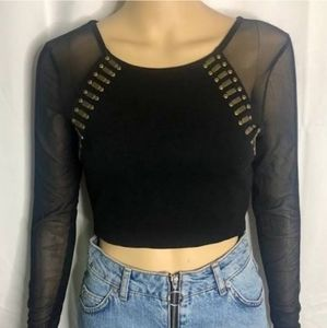 Bebe black mesh long sleeve crop top M